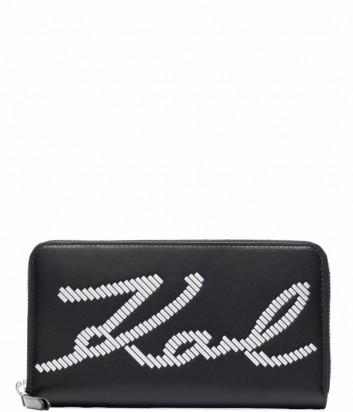 Кожаное портмоне KARL LAGERFELD Signature 215W3220 черное