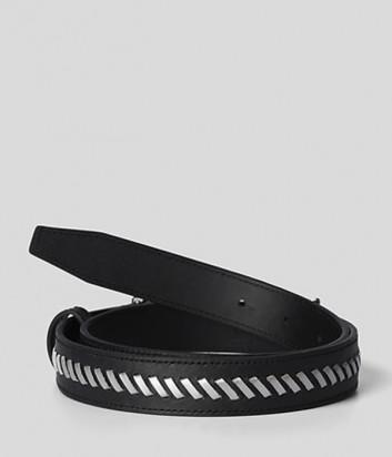 Кожаный ремень KARL LAGERFELD 215W3153 черный с декором