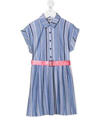 Платье KARL LAGERFELD Kids Z12173 голубое в полоску