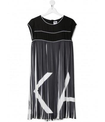 Платье-плиссе KARL LAGERFELD Kids Z12185 черное с принтом