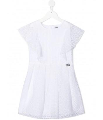 Платье KARL LAGERFELD Kids Z12180 с оборками белое