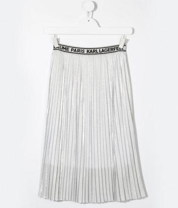 Юбка-плиссе KARL LAGERFELD Kids Z13070 с брендированным поясом серебристая