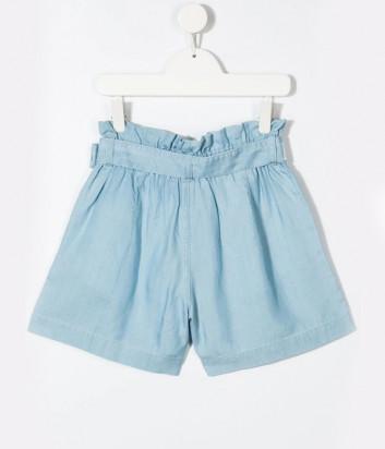 Джинсовые шорты KARL LAGERFELD Kids Z14144 голубые с брендированным ремнем
