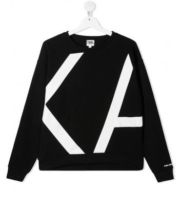 Толстовка KARL LAGERFELD Kids Z15311 черная с логотипом