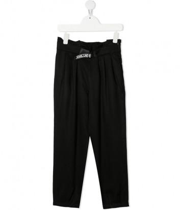 Черные брюки KARL LAGERFELD Kids Z14156 с завышенной талией и складками