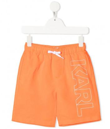 Шорты для плавания KARL LAGERFELD Kids Z20055 оранжевые с логотипом