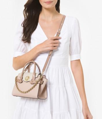 Кожаная сумка MICHAEL KORS Carmen Extra Small 30T0GNMM1L розово-кремовая