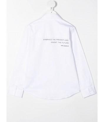Белая рубашка KARL LAGERFELD Kids Z25287 с надписями на спине