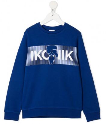 Свитшот KARL LAGERFELD Kids Ikonik Z25290 синий с принтом