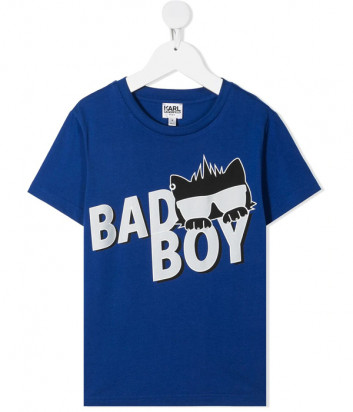 Футболка KARL LAGERFELD Kids Z25275 синяя с принтом Bad Boy