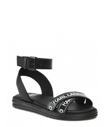 Кожаные сандалии KARL LAGERFELD Kids Z19052 черные с логотипом