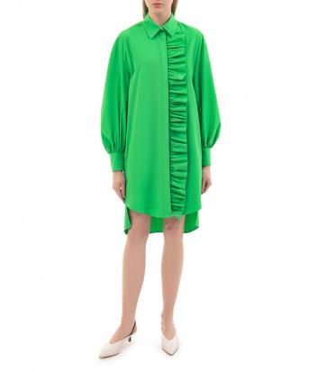 Платье-рубашка MSGM 3041MDA02 с оборками зеленое