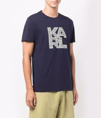 Футболка KARL LAGERFELD KL21MTS01 темно-синяя с логотипом