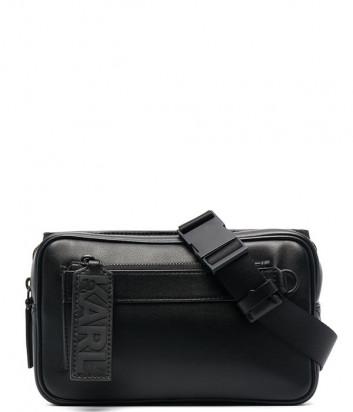 Кожаная поясная сумка KARL LAGERFELD 215M3043 черная
