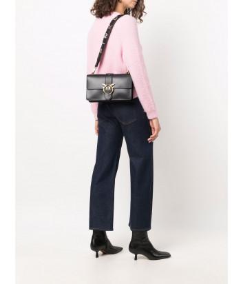 Кожаная сумка PINKO Love Classic Icon Simply 1P22A8 с декором на ремне черная