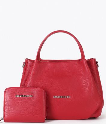 Кожаная сумка DI GREGORIO 8810 с кошельком в комплекте с кошельком красная