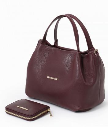 Кожаная сумка DI GREGORIO 8810 с кошельком в комплекте с кошельком бордовая