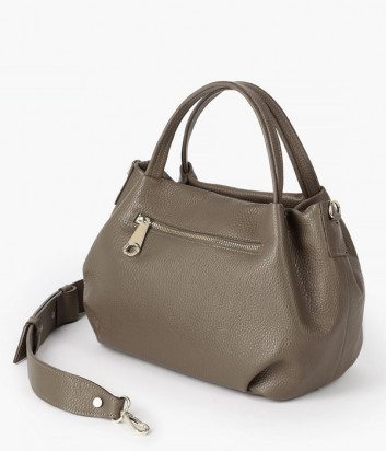 Кожаная сумка DI GREGORIO 8810 с кошельком в комплекте с кошельком оливковая