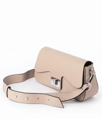 Кожаная сумка-багет DI GREGORIO 8836 бежевая