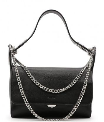Кожаная сумка PINKO Infinity Bubbles 1P227B декорированная цепочками черная