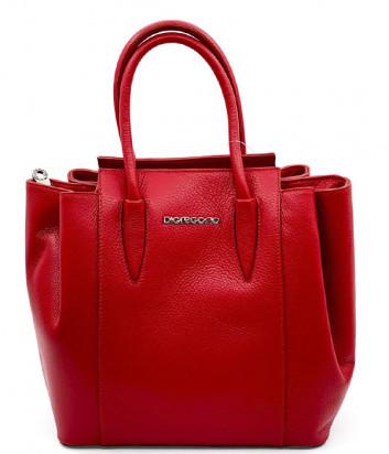 Кожаная сумка DI GREGORIO 8671 на три отделения красная