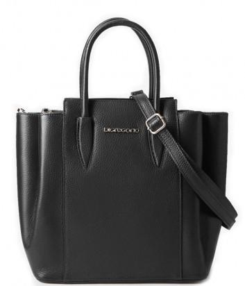 Кожаная сумка DI GREGORIO 8671 на три отделения черная