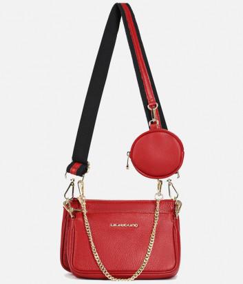 Комплект из двух кожаных сумочек DI GREGORIO 8784 на плечо красного цвета
