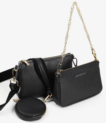 Комплект из двух кожаных сумочек DI GREGORIO 8784 на плечо черного цвета