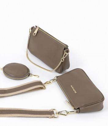 Комплект из двух кожаных сумочек DI GREGORIO 8784 на плечо зеленого цвета