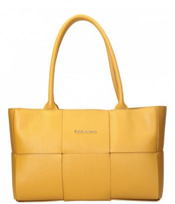 Сумка тоут DI GREGORIO 8816 из мягкой кожи крупного плетения желтая