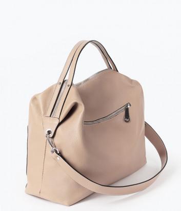 Кожаная сумка DI GREGORIO 8785 с внешними карманами пудровая