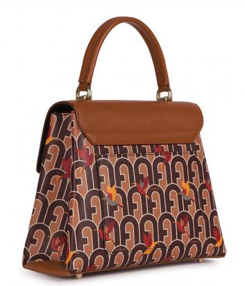 Кожаная сумка FURLA 1927 S BAKPACO коричневая с принтом колибри