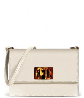 Кожаная сумка FURLA 1927 MINI BACHACO с декорированным замком кремовая