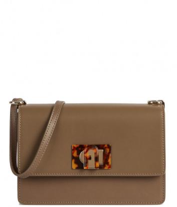 Кожаная сумка FURLA 1927 MINI BACHACO с декорированным замком коричневая