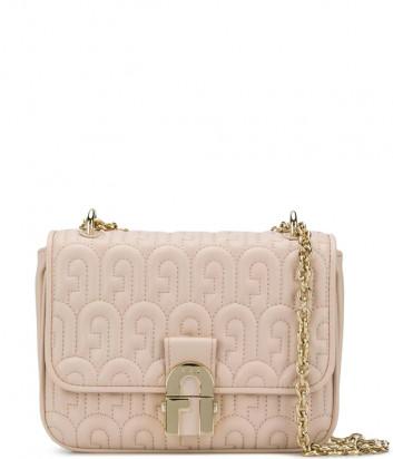 Кожаная сумка FURLA Cosy Mini BZY3PIL стеганная в виде лого пудровая