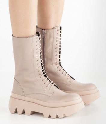 Кожаные ботинки PALOMA BARCELO Helsa на рифленой подошве со шнуровкой бежевые