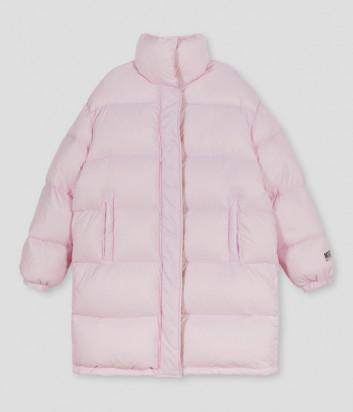 Удлиненный пуховик MSGM 3141MDH06 нежно-розовый