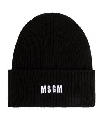 Шапка MSGM 3141MDL01 с вышитым логотипом черная