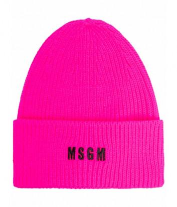 Шапка MSGM 3141MDL01 с вышитым логотипом розовая