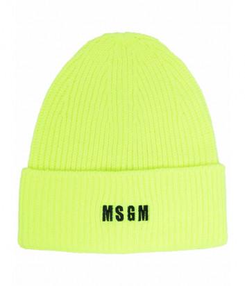 Шапка MSGM 3141MDL01 с вышитым логотипом салатовая