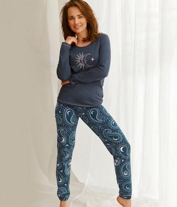 Пижама TARO Gaia 2563 синяя с принтом