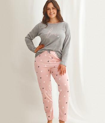 Пижама TARO Cora 2607 серо-розовый (размеры 2XL-3XL)