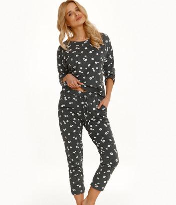 Пижама TARO Raisa 2571 темно-серая с принтом