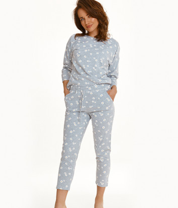 Пижама TARO Raisa 2571 светло-серая с принтом