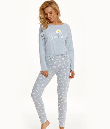 Пижама TARO Nicole 2572 серая с принтом