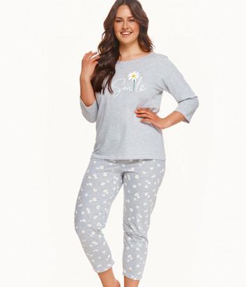 Пижама TARO Hera 2600 серая с принтом (размеры 2XL-3XL)