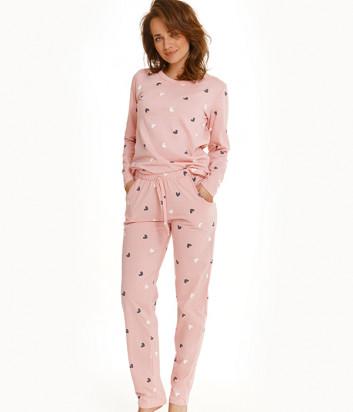 Пижама TARO Luna 2555 розовая с принтом