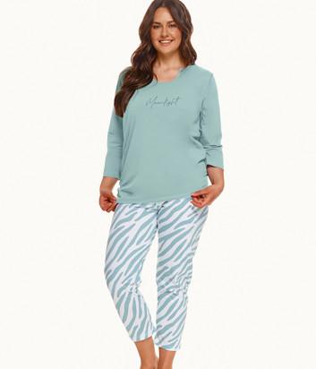 Пижама TARO Carla 2606 зеленая с принтом (размеры 2XL-3XL)