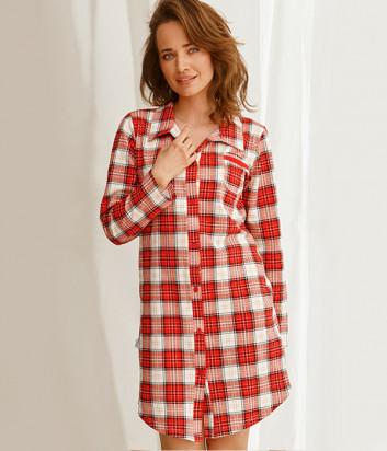 Ночная рубашка TARO Celine 2583 красная в клетку