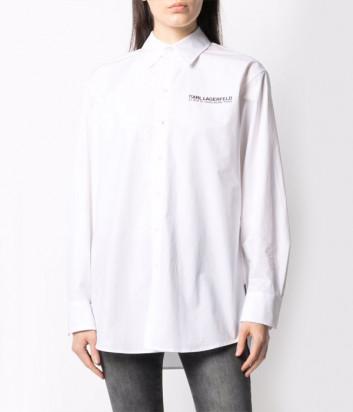 Белая рубашка KARL LAGERFELD 211W1680 с рисунком на спине